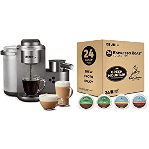 Keurig K-Cafe Special Edition Single Serve Latte and Cappuccino Coffee Maker, and Espresso Roast K-Cup Pod Variety Pack, 24 Count