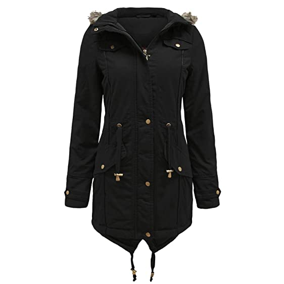 Womens Fishtail Coat Ladies Parka Jacket Designer Branded Fur ...
