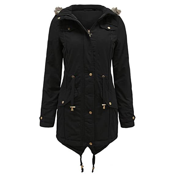c929fec9404 Womens Fishtail Coat Ladies Parka Jacket Designer Branded Fur Hooded Military  Coat  Amazon.co.uk  Clothing