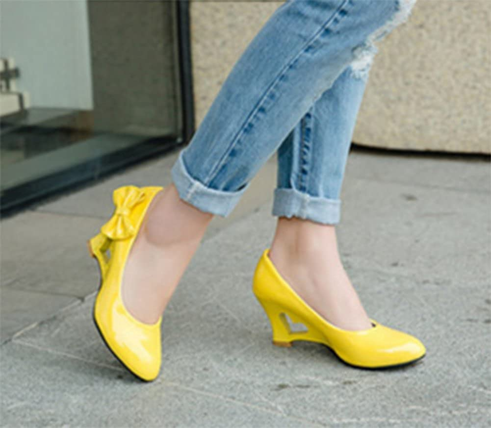 CHFSO Womens Comfy Heart Bowknot Hollow Out Low Cut Wedges Pumps Shoes