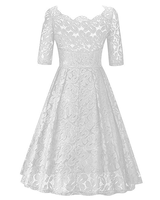 Encajes Retro Vestidos Elegantes Años 50 Vintage Color Sólido Noche Fiesta Para Mujer Blanco S