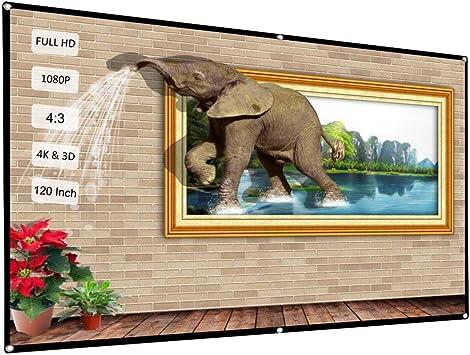 Docooler 120 Pantalla de proyector portátil HD 4: 3 Blanco ...