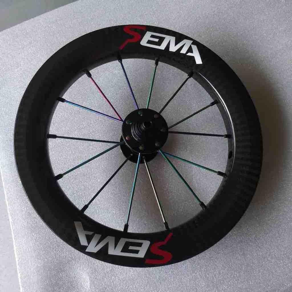 12 inch 203 フルカーボンホイールセット、hubsmith ハブ+セラミックベアリング+虹チタンスポーク、子供バランス自転車に適用(pair) B07CSWWVSJ ceramic bearing