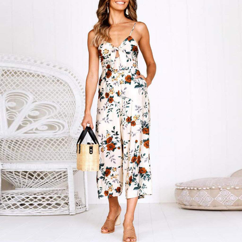 5c7e8c9ec9b Amazon.com  Fanteecy Floral Print Jumpsuits Romper for Women V Neck Bowknot  Sleeveless Strappy Wide Leg Capri Pants Summer Party Clubwear  Clothing