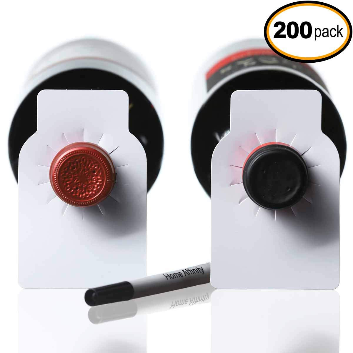 Plastic Reusable Wine Bottle Tags - 200 Count Plain Plastic Wine Cellar Labels by Home Affinity (White)