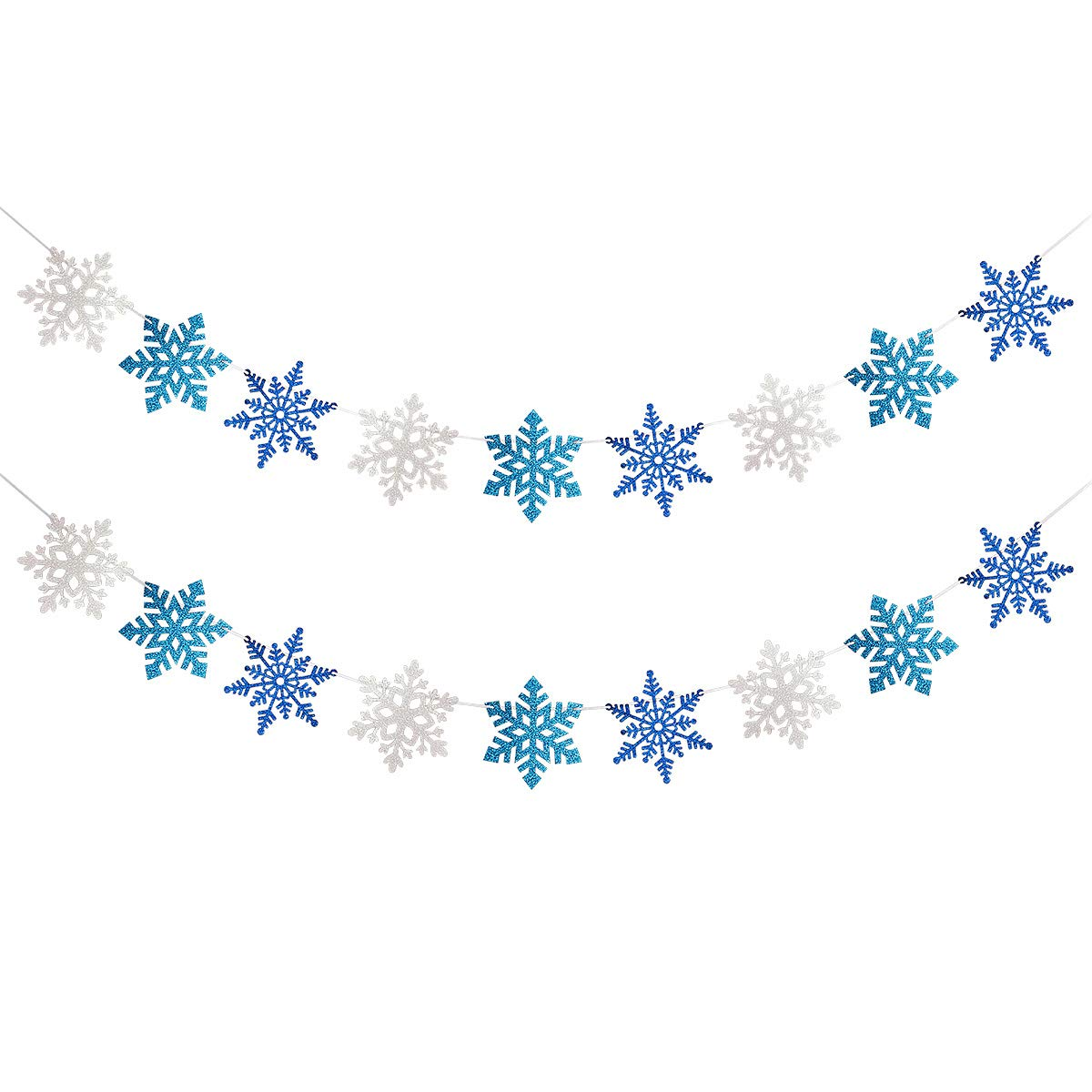 2 Pack White & Blue & Light BLue Glittery Snowflake Banner- Christmas Holiday Party Decorations,Winter Wonderland Decor,Santa Festive Party Decor,Winter Mantle Home Decor