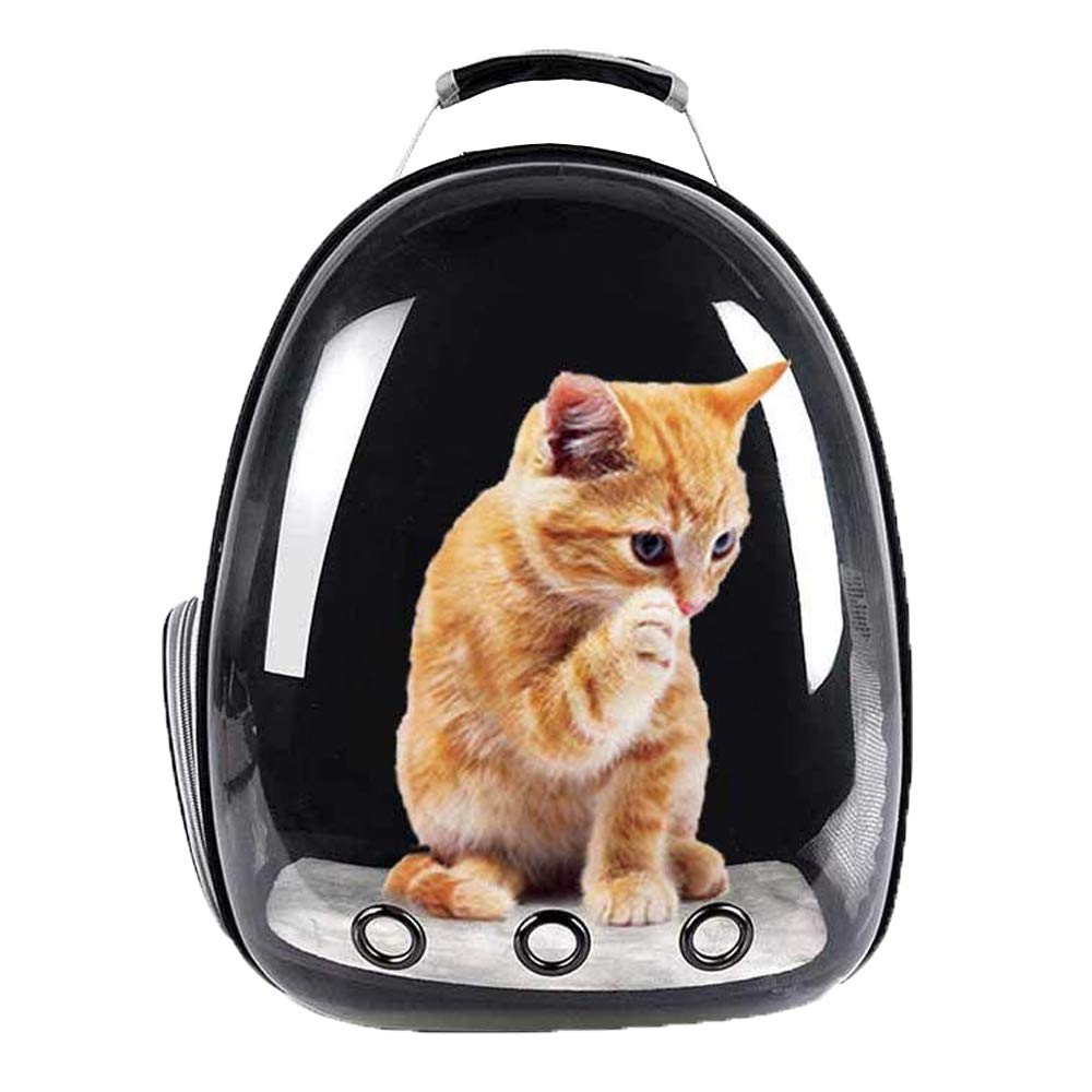 Pet Backpack Portable Bubble Breathable Capsule Space Design Transparent Kitten Puppy Waterproof Travel Backpack(Black)