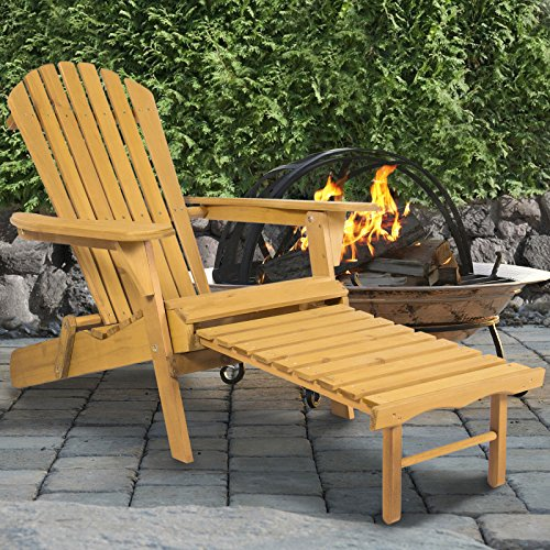 Outdoor Adirondack Wood Chair Foldable w/ Pull Out Ottoman Patio Deck Furniture Folds easily (Cheap Ottomans Online)