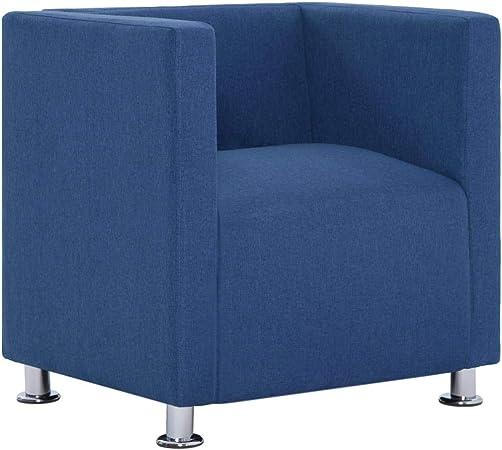 vidaXL Poltrona Cubo Relax Elegante Imbottita Seggiola Cabriolet Divanetto a Pozzetto Telaio Legno Rivestita in Poliestere Blu