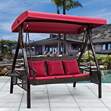 Sundale Outdoor Deluxe Wicker Porch Swing Canopy Sling Chair 3 Seats with Steel Frame Patio Backyard Awning, Red