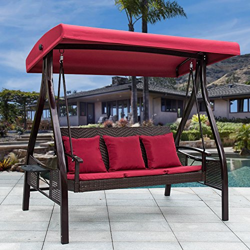 Wicker Porch Swing (Sundale Outdoor Deluxe Wicker Porch Swing Canopy Sling Chair 3 Seats with Steel Frame Patio Backyard Awning, Red)