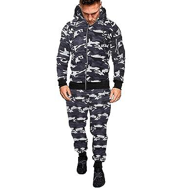 92d7a410cf506 Vetement Homme Vtops Sweat à Capuche Imprimé Automne Hiver des Hommes  DéFinit Le SurvêTement De Costume