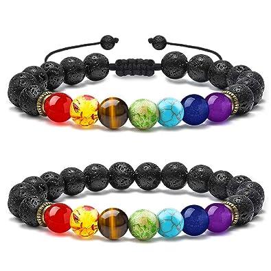 Bijoux, montres Bracelets Chakra 7 Stone pierre gemme yoga point de guérison cristal 8mm Perle Bracelet Cl
