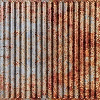 Image of From Plain To Beautiful In Hours 261otr-24x24-25 Ridged Metal Ceiling Tile, Old Tin Roof, 25 Home and Kitchen