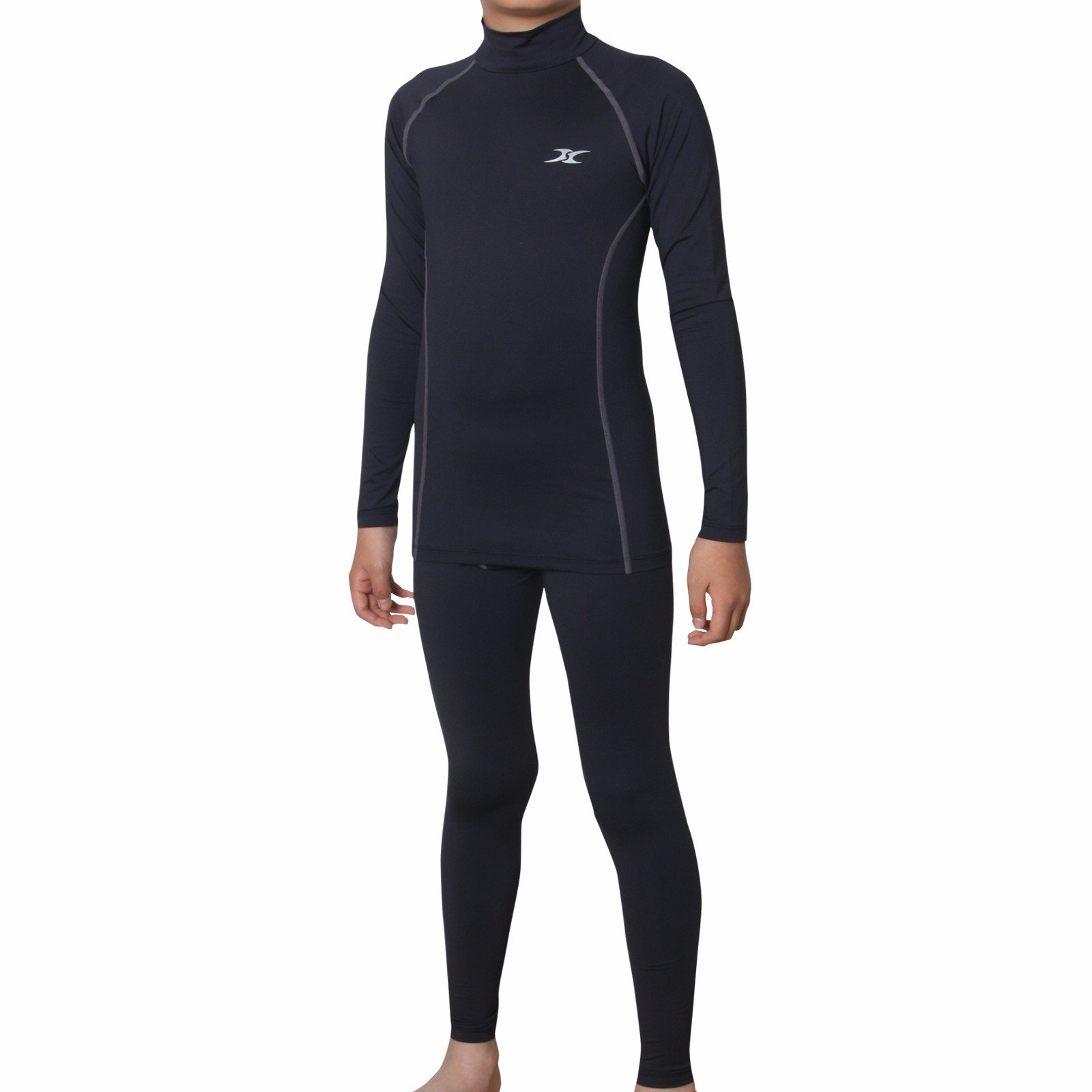 Thermal Underwear Kids Base Layer Compression Pants Shirt Tights Set NPLK BK S