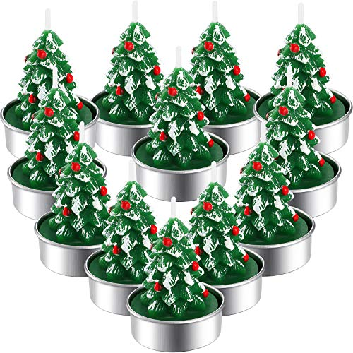 12 Pieces Christmas Tealight Candles Handmade Delicate Santas Snowman Acorn Tree Candles for Christmas Home Decoration Gifts (Style I)