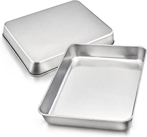 Toaster Oven Baking Pan Set of 2, E-far 10.4'' x 8'' x 2'' Stainless Steel Small Rectangular Cake Pans, Deep Sheet Pans for Brownies, Lasagna and Casseroles, Non-toxic & Healthy, Dishwasher Safe