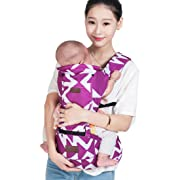 LaNova Baby Carrier with Hood Front and Back Adjustable Straps & Comfort Pads for Women and Men Cotton Fabric Perfect for Growing Kids Boys and Girls from 12-35 lbs 55 Maximum Adjustable Waist Purple