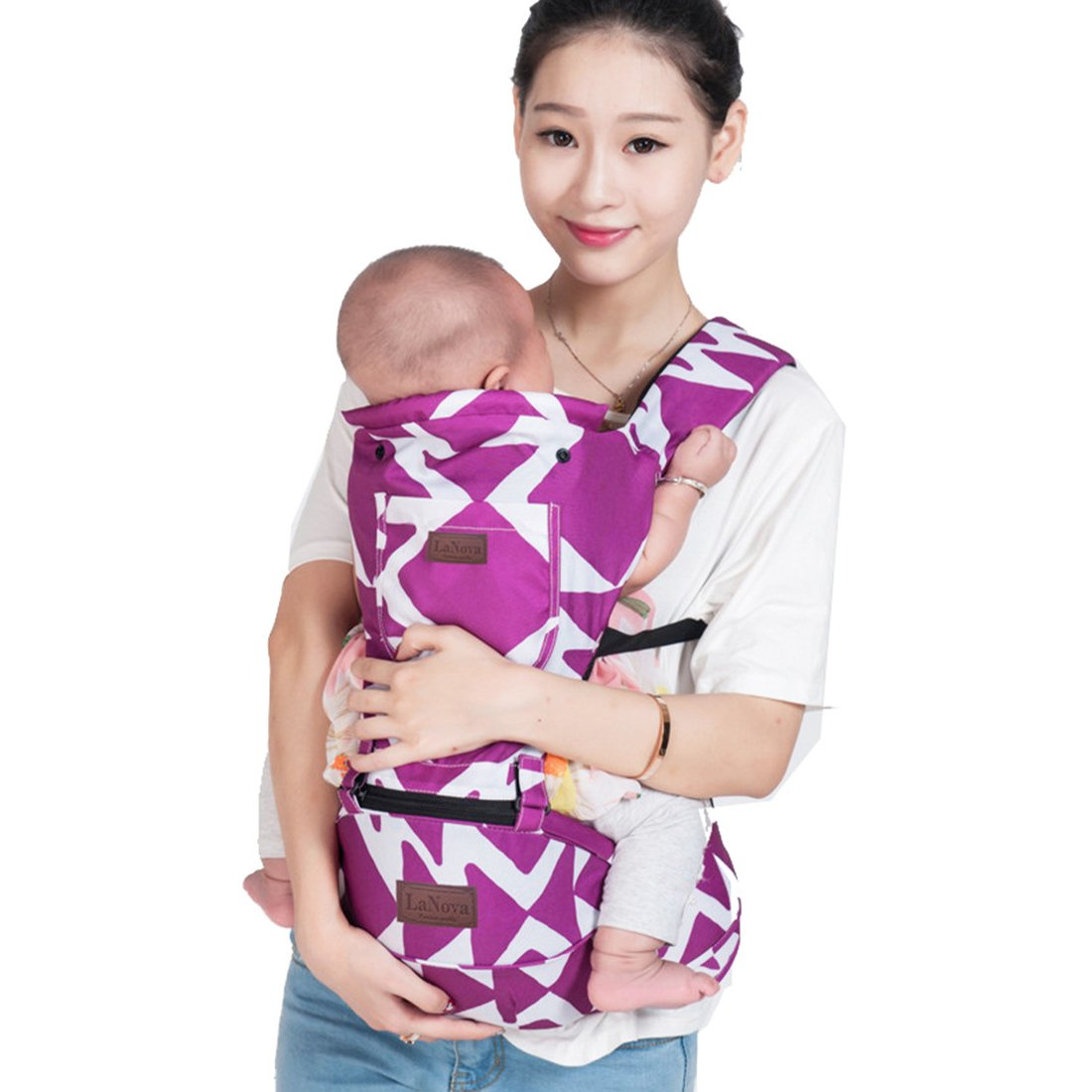LaNova Baby Carrier with Hood Front and Back Adjustable Straps & Comfort Pads for Women and Men Cotton Fabric Perfect for Growing Kids Boys and Girls from 12-35 lbs 55''Maximum Adjustable Waist Purple