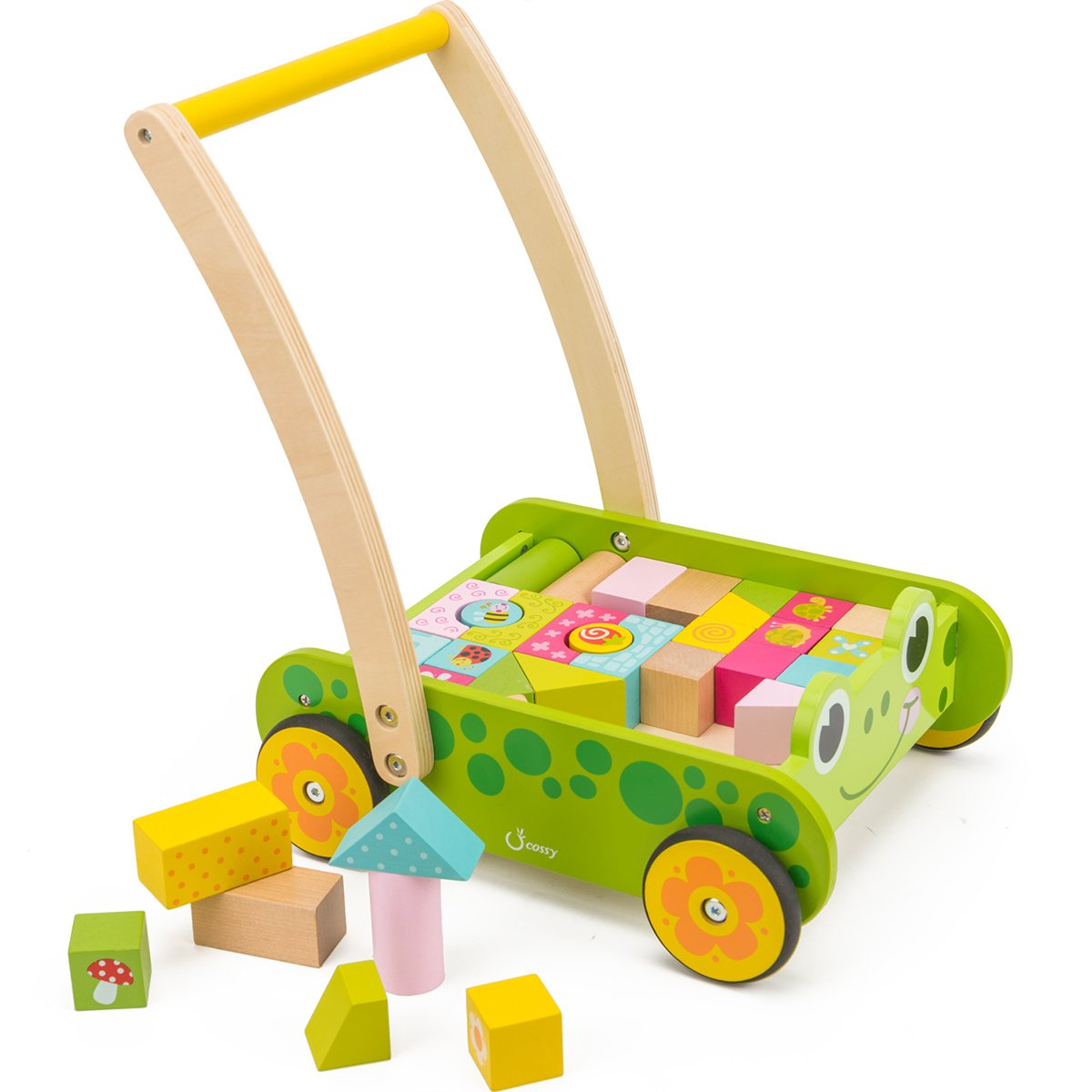 cossy Wooden Baby Learning Walker Toddler Toys for 1 Year Old, Frog Blocks and Roll Cart Push and Pull Toy (34 pcs)