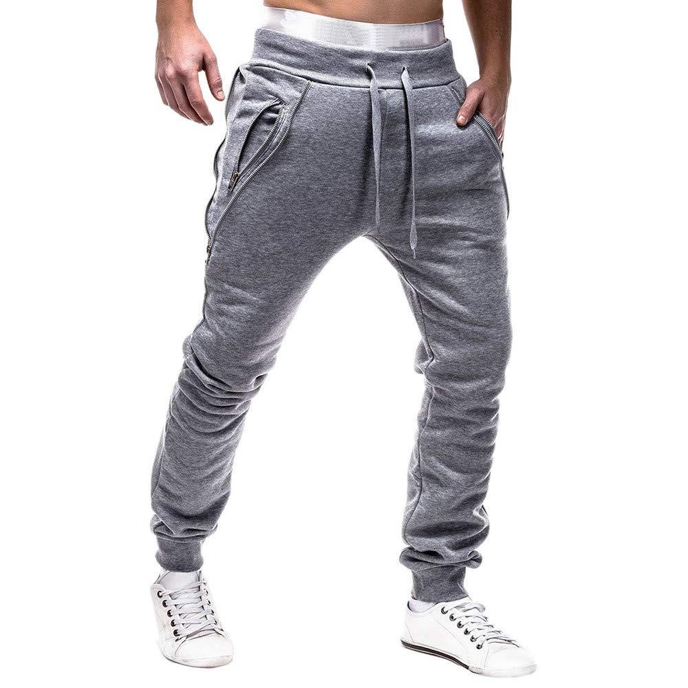 Gillberry Mens Sport Zipper Lashing Belts Casual Loose Sweatpants Drawstring Pant