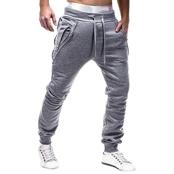 Logobeing Pantalones de Hombre Chandal Casual Cargo Trabajo Deporte Cremallera Cinturones de Amarre Pantalones de Chándal Sueltos Pantalón con Cordón