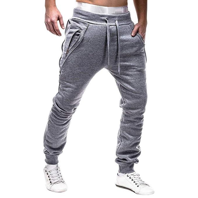 8e4920799ec47 Logobeing Pantalones de Hombre Chandal Casual Cargo Trabajo Deporte  Cremallera Cinturones de Amarre Pantalones de Chándal