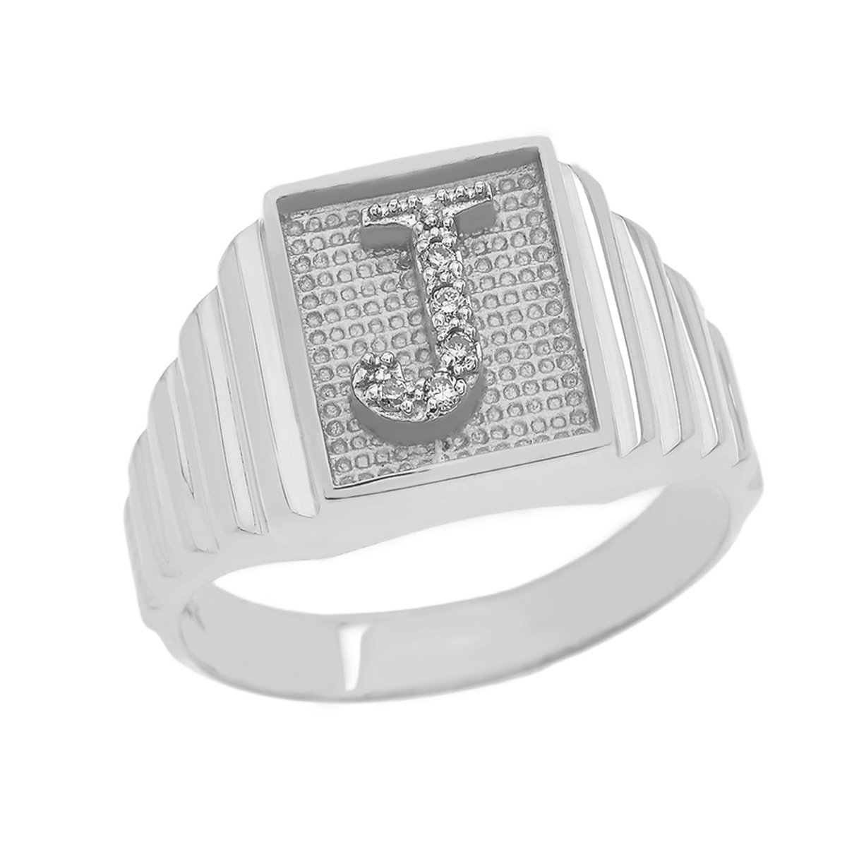 Men's 925 Sterling Silver Layered Band Square Face Diamond Initial Letter Ring (Size 9)