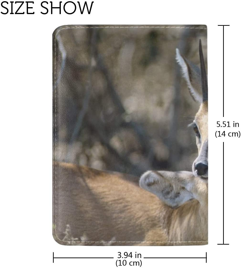 Antelope Couple Goats Leather Passport Holder Cover Case Travel One Pocket