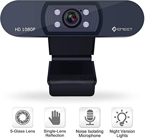 eMeet 1080P Webcam – Conferencia vídeo Full HD Webcam para ...