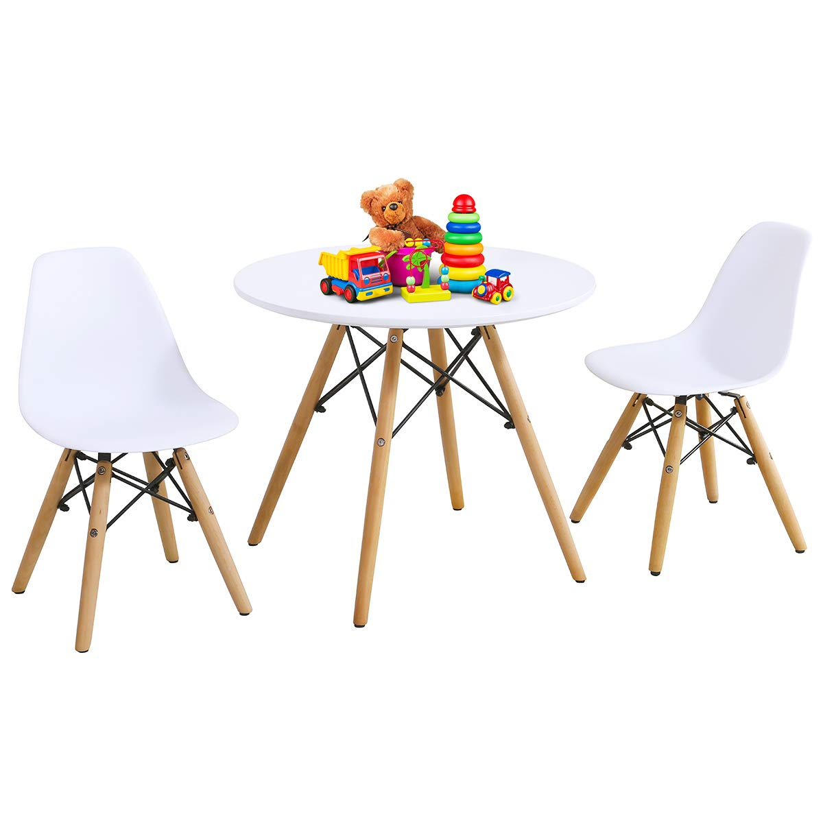 Costzon Kids Table and Chair Set, Kids Mid-Century Modern Style Table Set for Toddler Children, Kids Dining Table and Chair Set, 3-Piece Set (White, Table & 2 Chairs) by Costzon