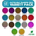 EZ Peel HTV - 17 Glitter Heat Transfer Vinyl Sheets : Easy to Weed - Iron On or Heat Press, Machine Printable Silhouette Cameo 2, 3 Cricut Explore Air Cutter - Heated Print Sheet Best for T Shirt Tote