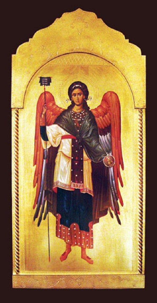 Archangel Gabriel Florentine Plaque, 21x45 inches. Made in Italy.
