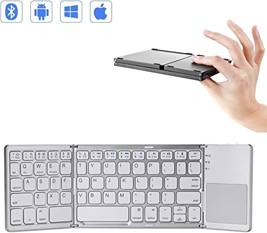 Mini teclado Bluetooth plegable con panel táctil, teclado ...