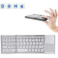 Mini teclado Bluetooth plegable con panel táctil, teclado ultraligero tri- plegable plegable para iPhone iPad Samsung Smartphone Tablet, teclado inalámbrico BT con diseño ergonómico Batería recargable,White