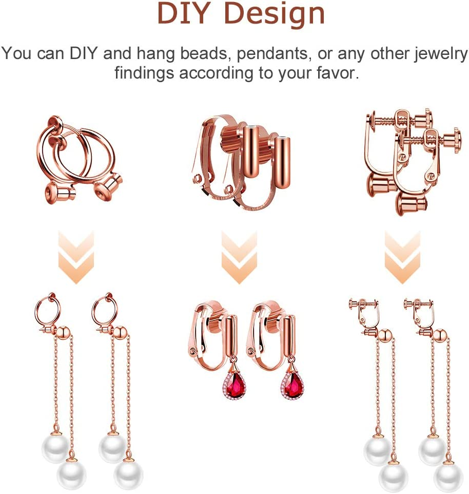Gold /& Silver /& Rose Maveek 3 Styles Fashion Earring Clip Backs with Post for Non-Pierced Ears in 3 Colors 18 Piece Clip-on Earrings Converter