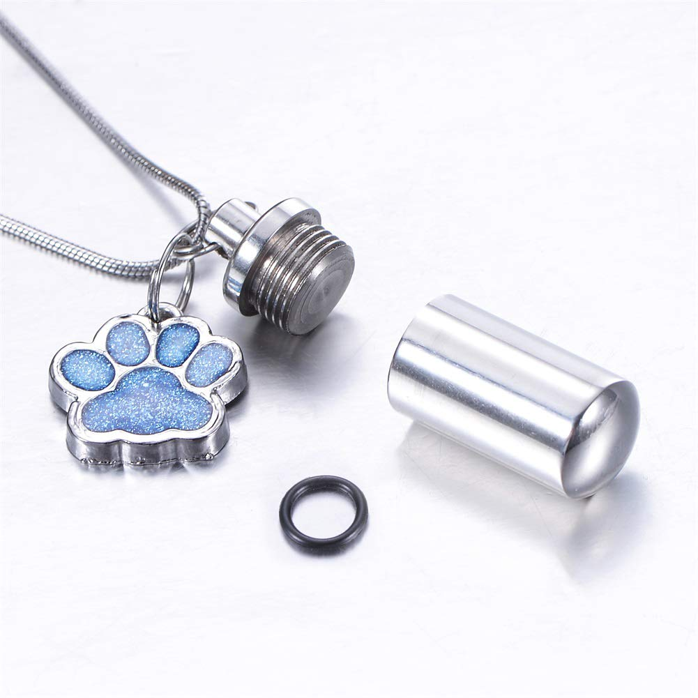 HooAMI Cremation Jewelry for Ashes Pet Puppy Dog Paw Cylinder Memorial Urn Necklace//Keychain Keepsake