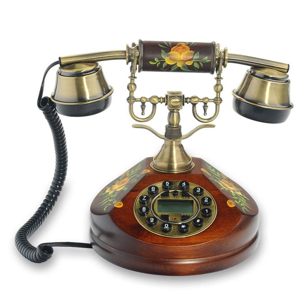 Lixingmingqi 回転式ダイヤルが付いているレトロの電話、ヨーロッパのレトロの電話木製の庭様式の創造的でかわいい方法固定電話   B07RYJM19X