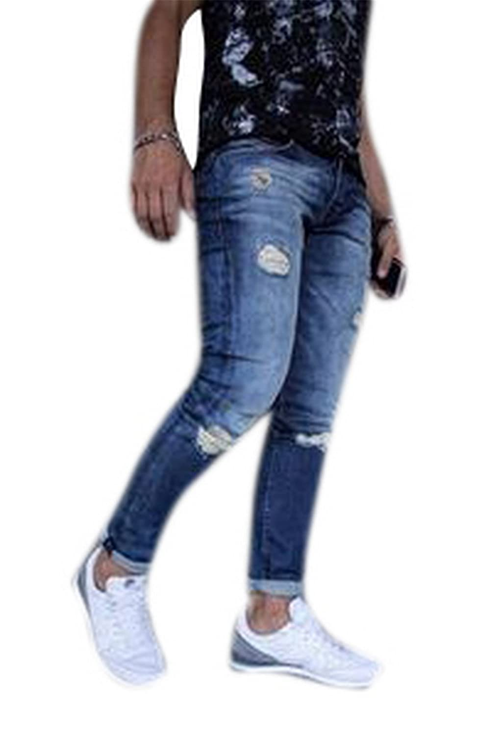 Domple Mens Straight Leg Ankle Ripped Destroyed Casual Roll Up Cargo Denim Pants Jeans