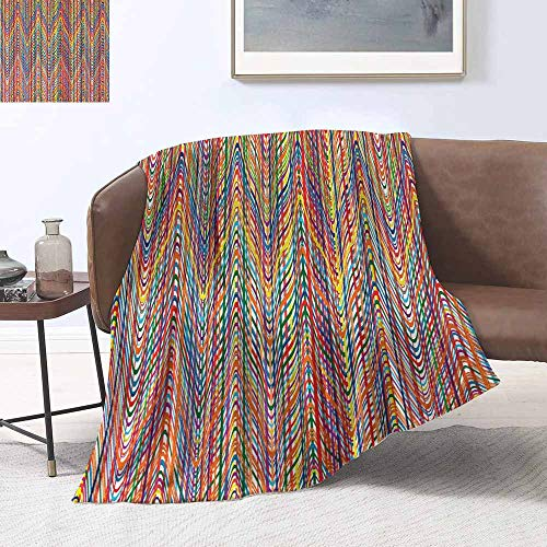 sunsunshine Blanket Throw Office/Inside The car Child Blanket Abstract,Colorful Zigzag Pattern with Mixed Contrast Messy Tone Lines Modern Stripes ()