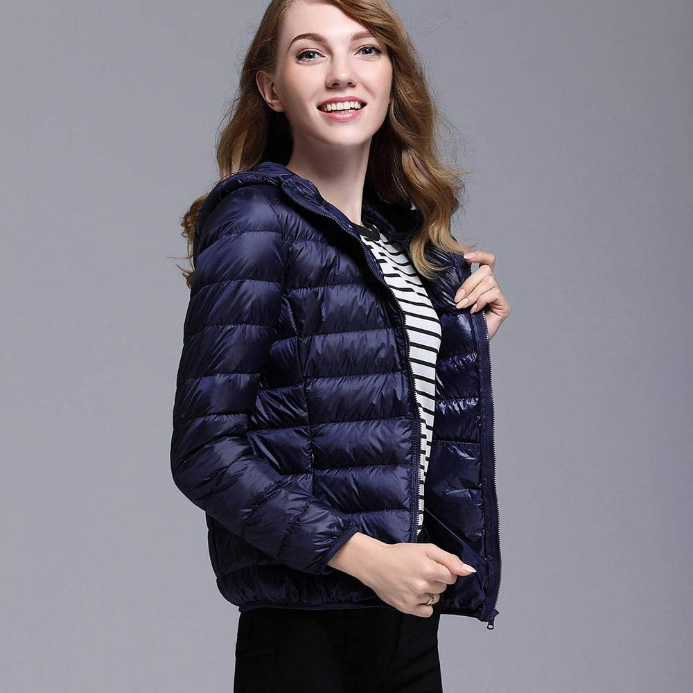 Fashion Women Ultra Light Puffer Jacket Solid Color Hooded Zippers Puffer Coat Down Jacket GIFC ?