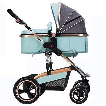 3a5d63e4b JYY Cochecito De Bebé para Recién Nacidos Y Niños Pequeños Sistema De Viaje  De Respaldo Ajustable Carro De Bebé Convertible para Cuna, 0-3 Años,Green:  ...