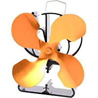 VODA 4-Blade Heat Powered Stove Fan for Wood/Log Burner/Fireplace Increases 80% More Warm air Than 2 Blade Fan- Eco Friendly Gold
