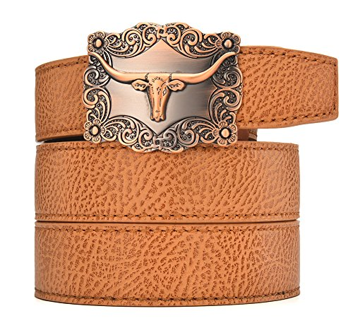 Autolock Men Western Buckle Ratchet Leather Belt Valentine's Day Gift (Texas 4, waist 26-44)