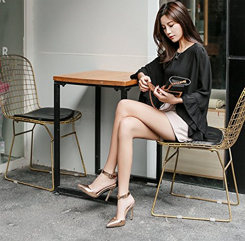 KHSKX-Spring Champagne 8.5Cm Pointed High Heels Fine Heel Fashion Women Shoes Shallow Silver Single Shoes One Word Buckle Sandals Thirty-six GjZlM