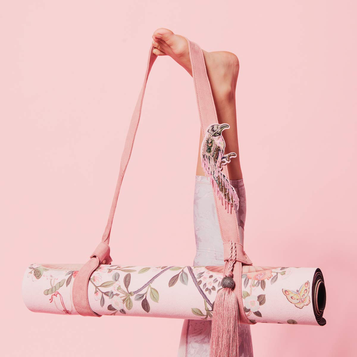 Luxurious Yoga Strap Pink Pampas Chinoise Carrier