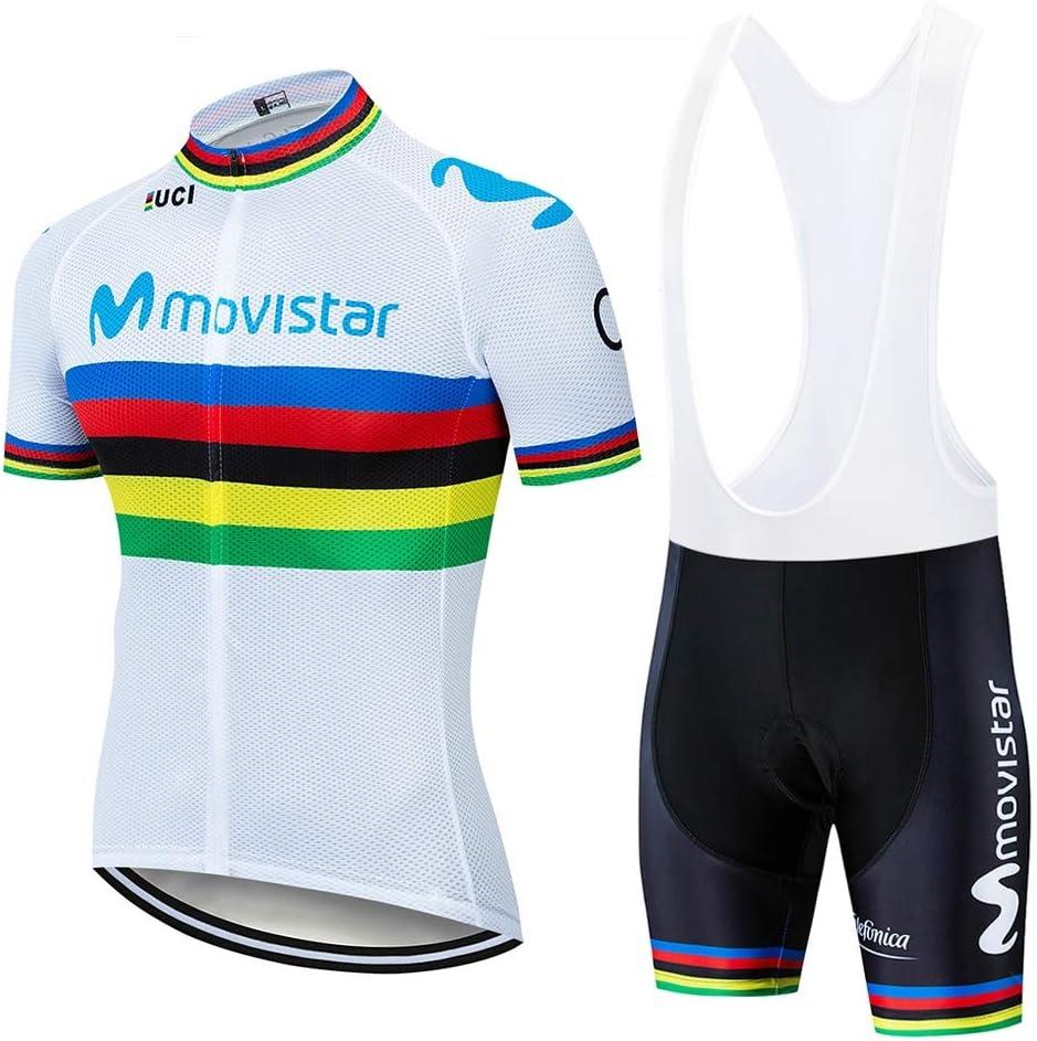 Conjunto Ropa Equipacion Traje Ciclismo Hombre para Verano,Maillot Ciclismo Hombre Pantalones Cortos Transpirables de Secado r/ápido Verano
