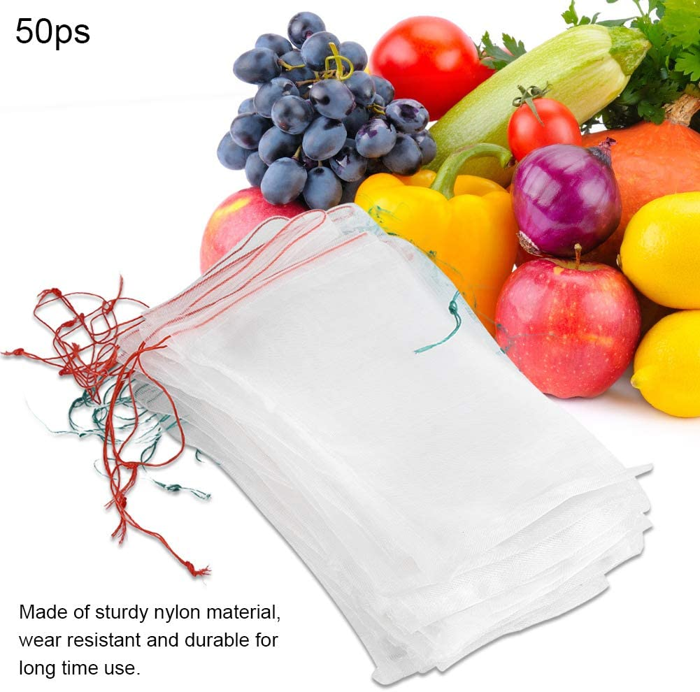 50 Pcs Plant Fruit Protective Bag Drawstring Breathable Mesh Bag Against Insect Mosquito Bug Pest Bird Garden Tools 15cm 25