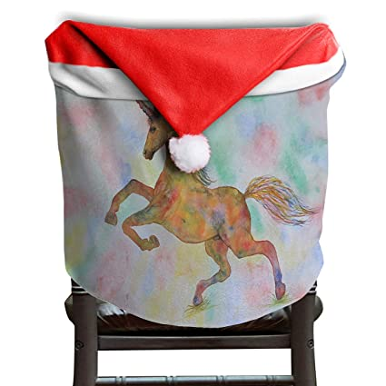 Awe Inspiring Amazon Com Lovebea Santa Hat Chair Covers Rainbow Unicorn Caraccident5 Cool Chair Designs And Ideas Caraccident5Info