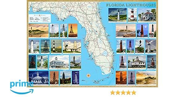 Florida Lighthouses Map.Florida Lighthouses Illustrated Map Guide Laminated Poster Bella